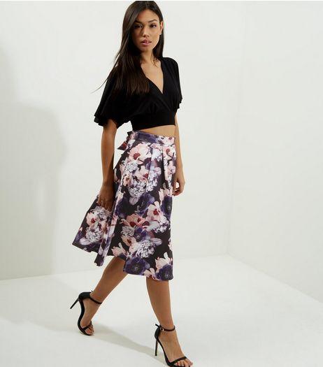black-floral-print-midi-skater-skirt-