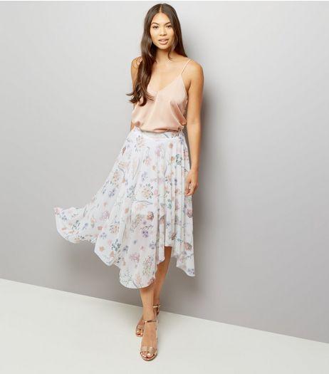 white-floral-print-hanky-hem-skirt-