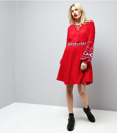 red-embroidered-trim-smock-dress