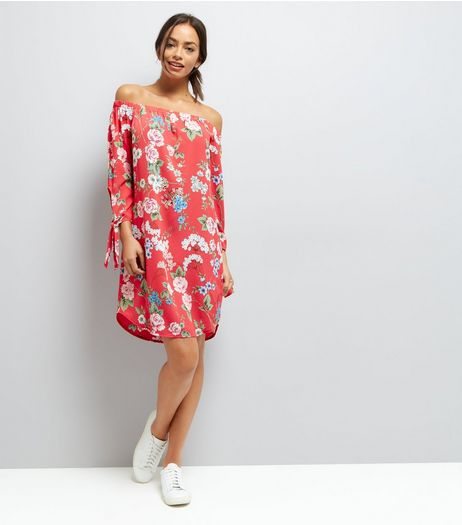 red-floral-print-tie-sleeve-bardot-neck-dress